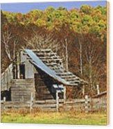 Barn In Fall Wood Print by Marty Koch