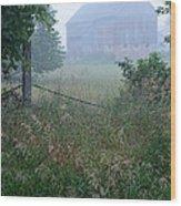 Barn In Fog Wood Print
