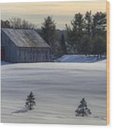 Barn In Snow In Color Wood Print by Donna Doherty