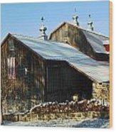 Barn In Snow Wood Print