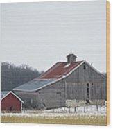 Barn In The Field Wood Print