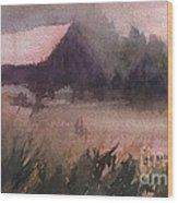 Barn In The Fog Wood Print