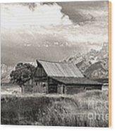 Barn In The Tetons Wood Print