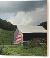 Barn In The Usa Wood Print by Karen Wiles