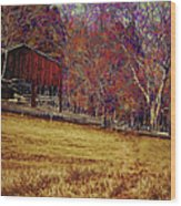 Barn In The Woods-featured In Barns Big And Small Group Wood Print