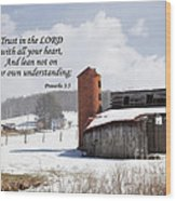 Barn In Winter With Scripture Wood Print