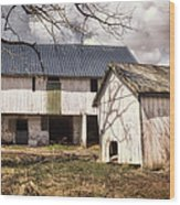 Barn Near Utica Mills Covered Bridge Wood Print