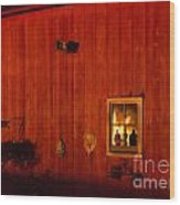 Barn On Fire Wood Print