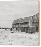Barn Quebec Province In  Black And White Wood Print