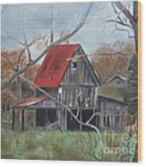 Barn - Red Roof - Autumn Wood Print