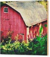 Barn Red Sunset Wood Print