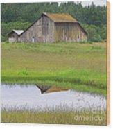 Barn Reflection Wood Print