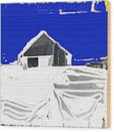 Barn Snow Storm Rc Guss Photo 1951 Collage St. Paul Park Minnesota Color Drawing Added Wood Print