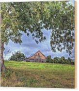 Barn Under A Tree. Wood Print