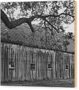 Barn With Brick Silo In Black And White Wood Print