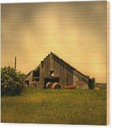 Barn With Hay Bales Wood Print