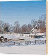Barn With Horses  Wood Print