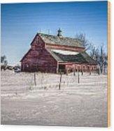 Barn With Melting Snow Wood Print