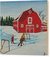 Barn Yard Hockey Wood Print