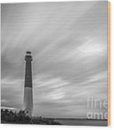 Barnegat Lighthouse Le Sunset Bw Wood Print