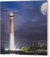 Barnegat Lighthouse Super Moon Wood Print