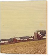 Barns And Landscape Wood Print