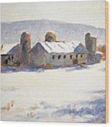 Barns In Blue  Wood Print