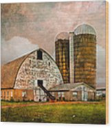 Barns In The Country Wood Print