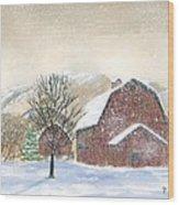 Barns In Winter Wood Print