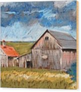 Barns On Maple Street Wood Print