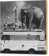 Barnum And Bailey Goes On A Road Trip 5d22705 Vertical Black And White Wood Print