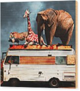 Barnum And Baileys Fabulous Road Trip Vacation Across The Usa Circa 2013 5d22705 With Text Wood Print