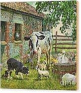 Barnyard Chatter Wood Print