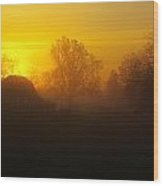 Barnyard Fog Wood Print