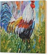 Barnyard Rooster Wood Print by Barbara Pirkle