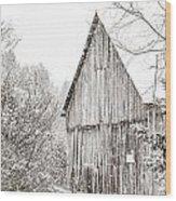 Barnyard Snowfall Wood Print
