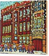 Baron Byng High School St Urbain Street Hockey Montreal Winter Scene Carole Spandau Montreal Artist Wood Print