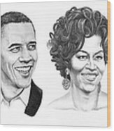 Barrack And Michelle Obama Wood Print by Murphy Elliott