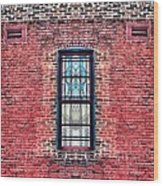 Barred Windows On Brick Wood Print
