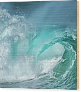 Barrel In The Surf Wood Print