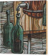 Barrel To Bottle Wood Print by Sean Hagan
