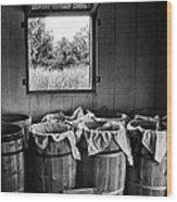 Barrels Of Beans - Bw Wood Print