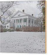 Barrington Hall In The Snow Wood Print