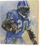 Barry Sanders Wood Print by Michael  Pattison