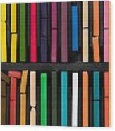 Bars Of Bright And Colorful Pastel On Black Background Wood Print