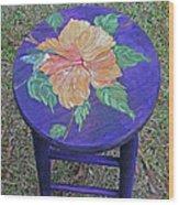 Barstool Hibiscus Wood Print