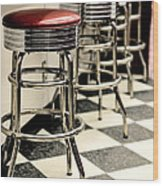 Barstools Of Vintage Roadside Diner Wood Print by Phillip Rubino