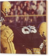 Bart Starr Ready For Snap Wood Print