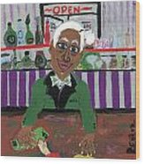 Bartender At The Country Club Wood Print