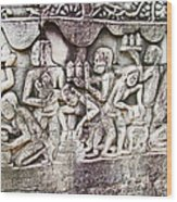 Bas-reliefs Of Khmer Daily Activities In The Bayon In Angkor Thom-cambodia  Wood Print